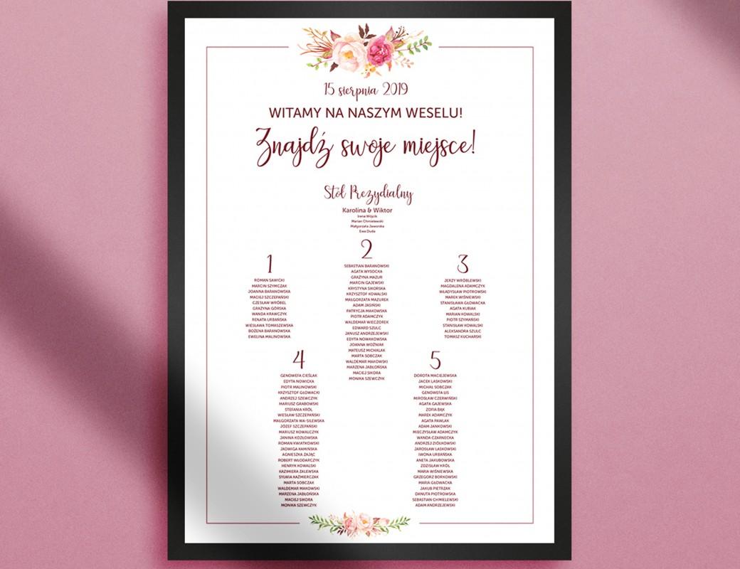 romantic flowers - Plan stołów