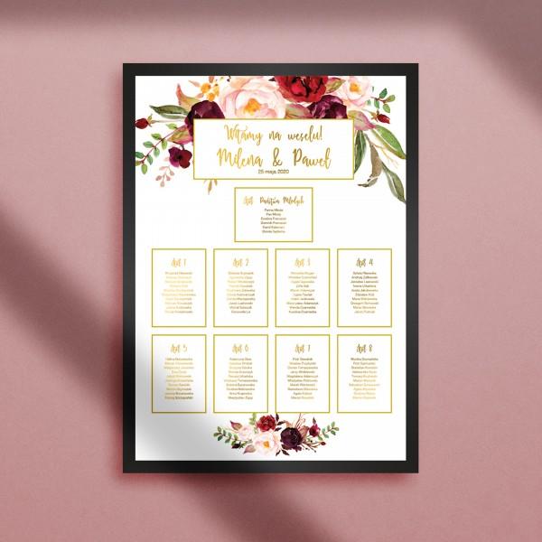 Marsala Flowers - Plan stołów