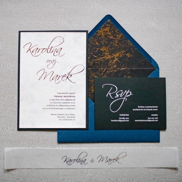 Black Marble - zaproszenie ślubne