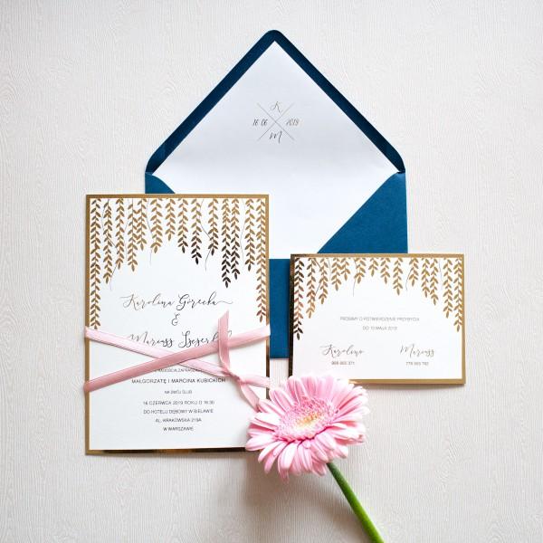 Gold Leaves - zaproszenie ślubne