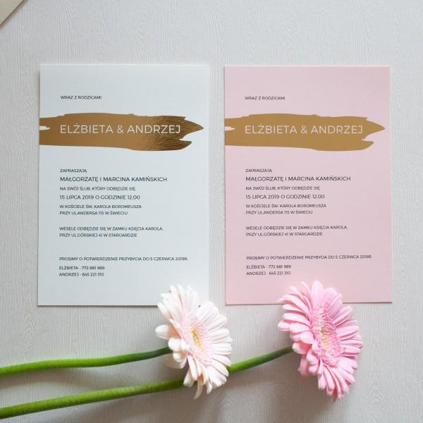 Gold Stripe- zaproszenie ślubne