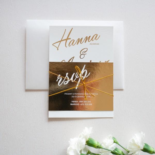 Simple Gold- zaproszenie ślubne