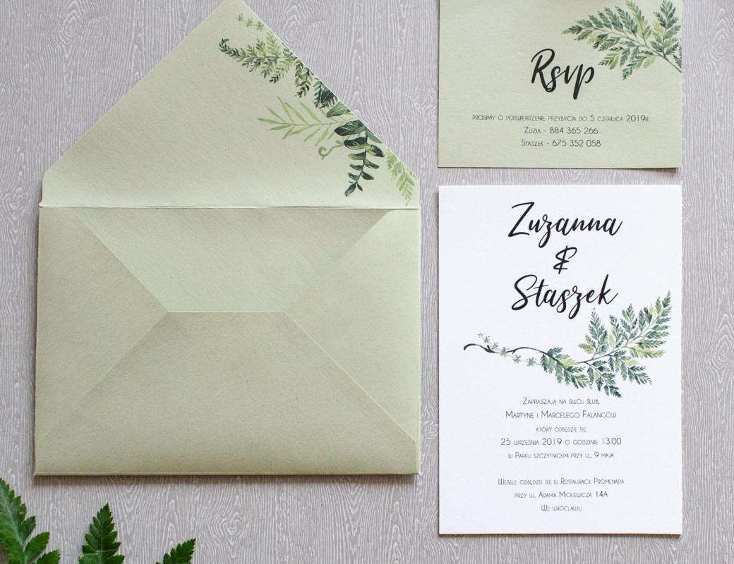 Fern Leaf - zaproszenie ślubne