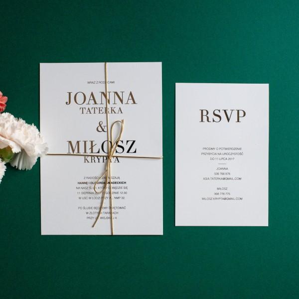 Classic Gold- zaproszenie ślubne