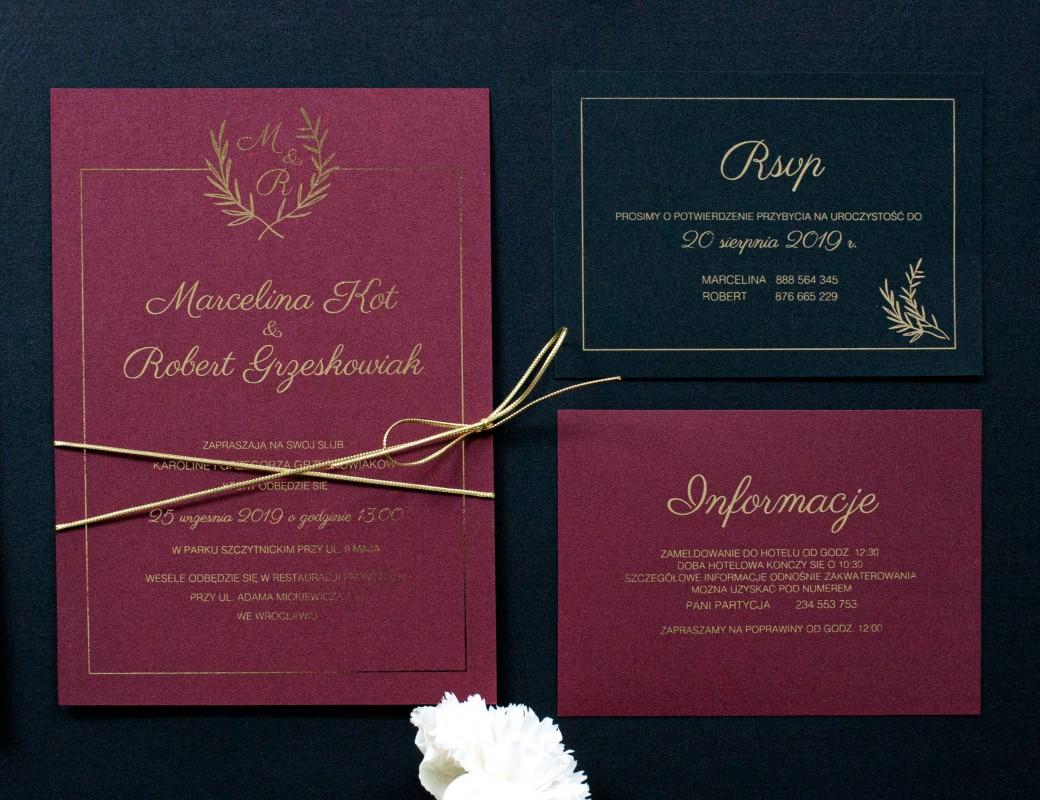 Bordo Leaves - zaproszenie ślubne