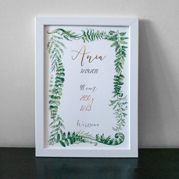 Zielone listki - metryczka na urodziny dziecka