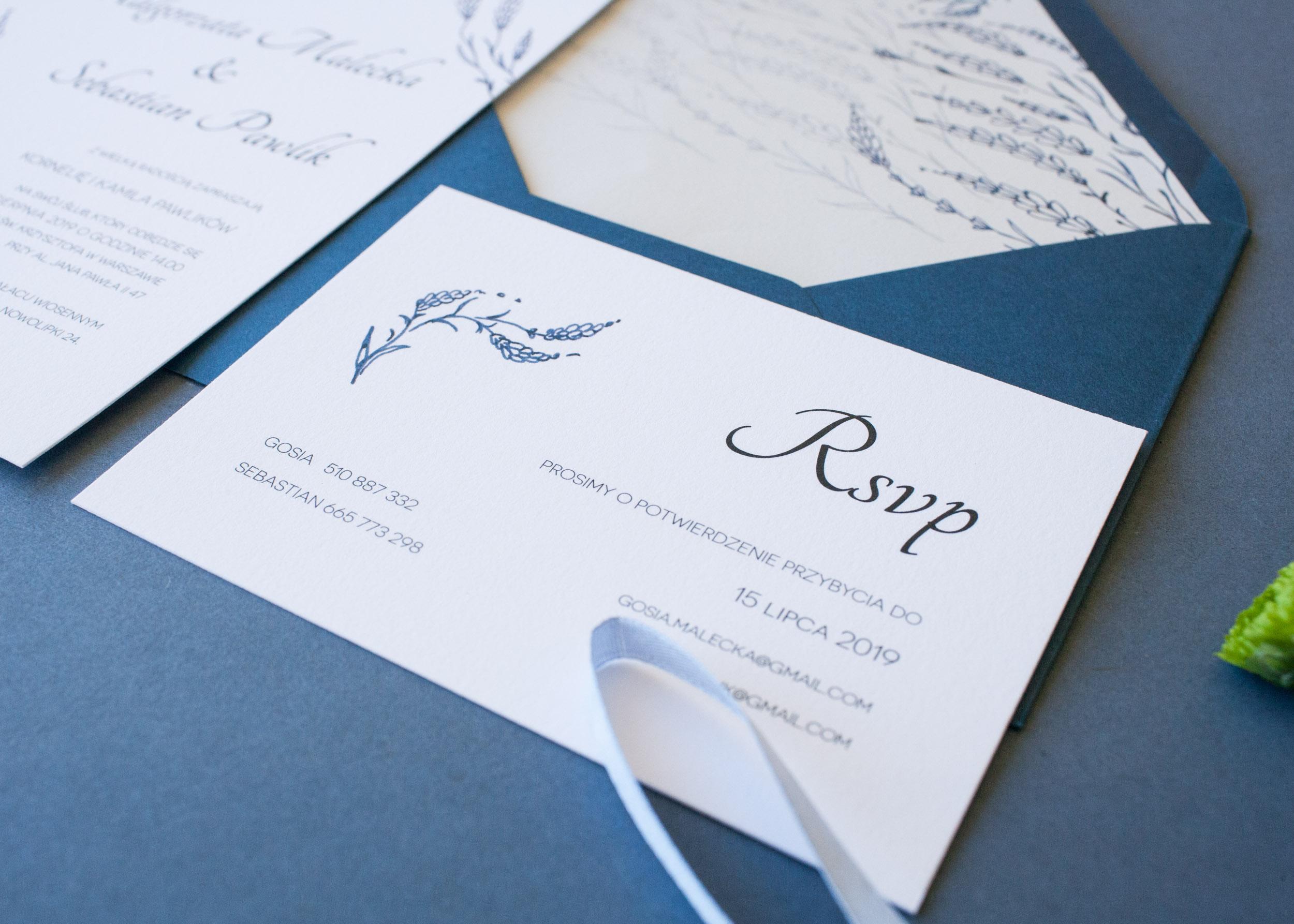 zaproszenie ślubne, zaproszenie dusty blue
