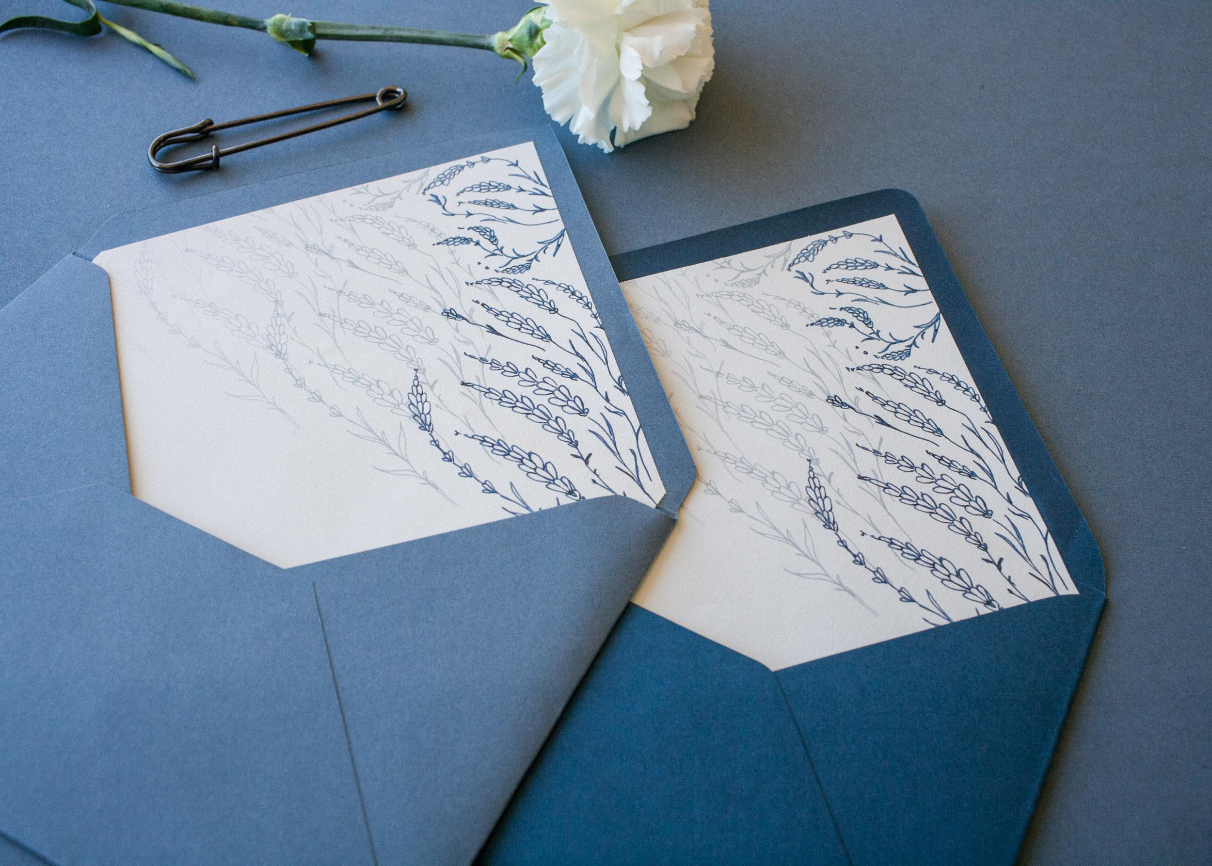 zaproszenie ślubne, zaproszenie dusty blue, koperta, koperta dusty blue